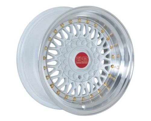 ESM Wheels White/Machined Polished Lip Gold Rivet ESM-002R Cast Wheel 16x9 4/5x100 +15mm - ESM-002RWH16X9