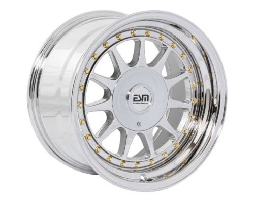 ESM Wheels Platinum Chrome/Gold Rivet ESM-003R Cast Wheel 16x8 4/5x100 +20mm - ESM-003RPLGR16X8-45X100