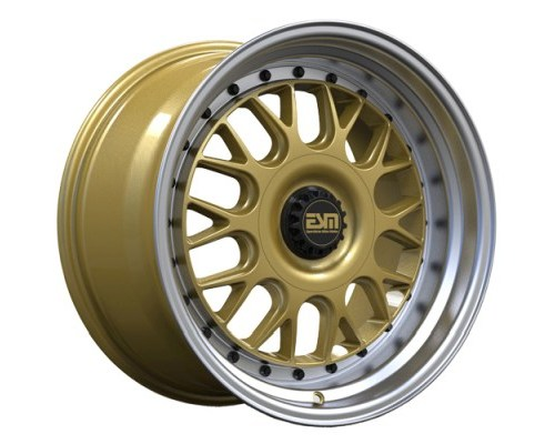 ESM Wheels Gold/Machined Polished Lip Black Rivets ESM-004M Cast Wheel 18x11 5x120/114.3 +22mm - ESM-004MGLBR18X11-5X120