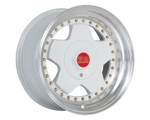 ESM Wheels White/Machined Polished Lip Gold Rivets ESM-009R Cast Wheel 16x9 +15mm - ESM-009RWH16X9
