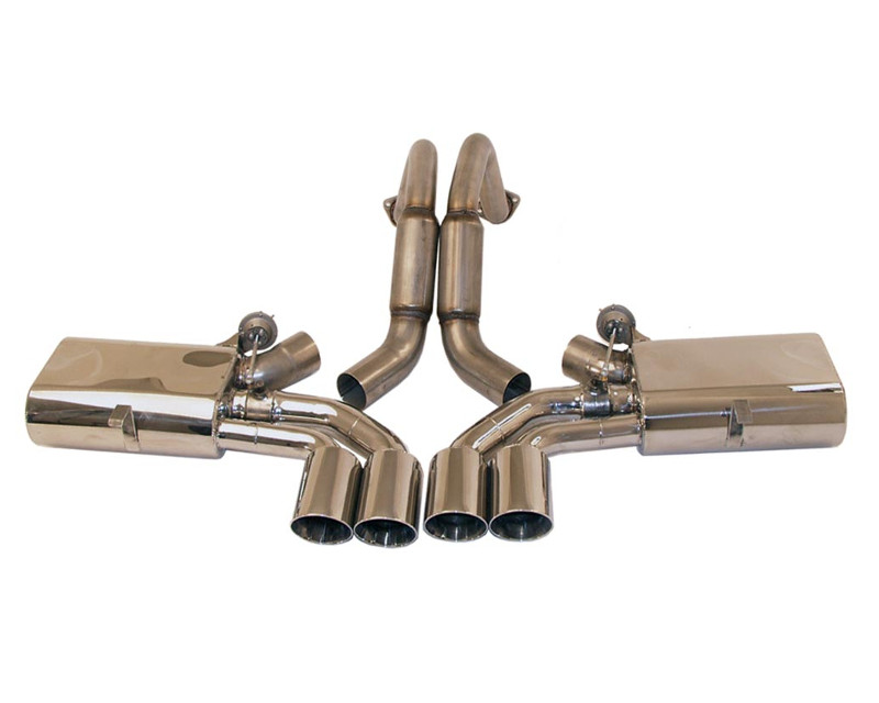 B&B Exhaust C5 Fusion Exhaust System with 4inch Quad Round Tips Chevrolet Corvette 97-04 - FCOR-0150