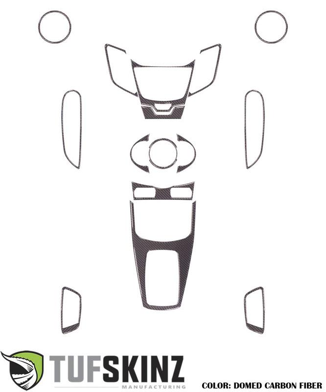 Tufskinz FIE001-DCF-G Interior Dash Kit Fits 11-Up Ford Fiesta 15 Piece Kit Domed Carbon Fiber