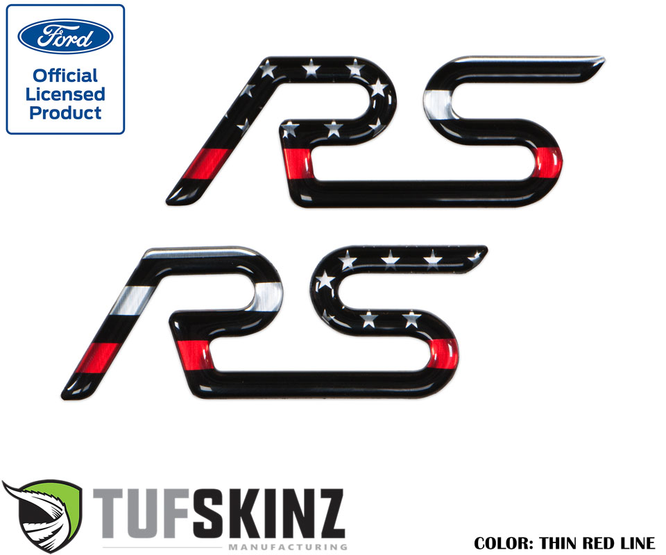 Tufskinz FOC001-GTO-002-G Rear Spoiler Inserts Fits 16-Up Ford Focus RS 2 Piece Kit in Thin Red Line Edition