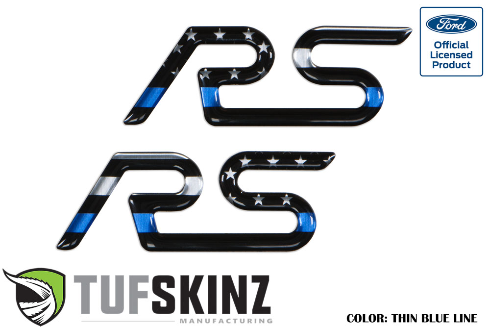Tufskinz FOC001-GTO-003-G Rear Spoiler Inserts Fits 16-Up Ford Focus RS 2 Piece Kit in Thin Blue Line Edition