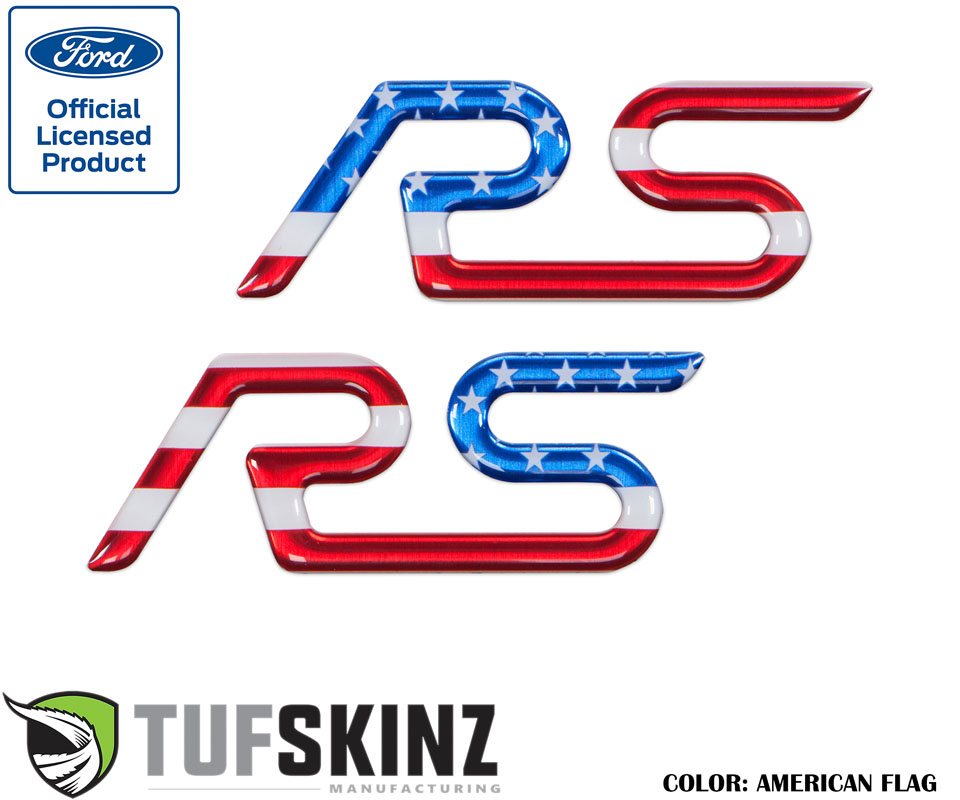 Tufskinz FOC001-GTO-RWB-G Rear Spoiler Inserts Fits 16-Up Ford Focus RS 2 Piece Kit in Red/White/Blue