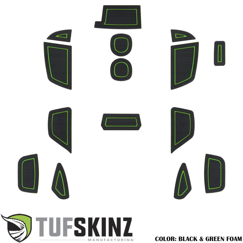 Tufskinz FOC018-FGN-X Interior Cup Holder Inserts Fits 16-Up Ford Focus RS 15 Piece Kit Black/Green