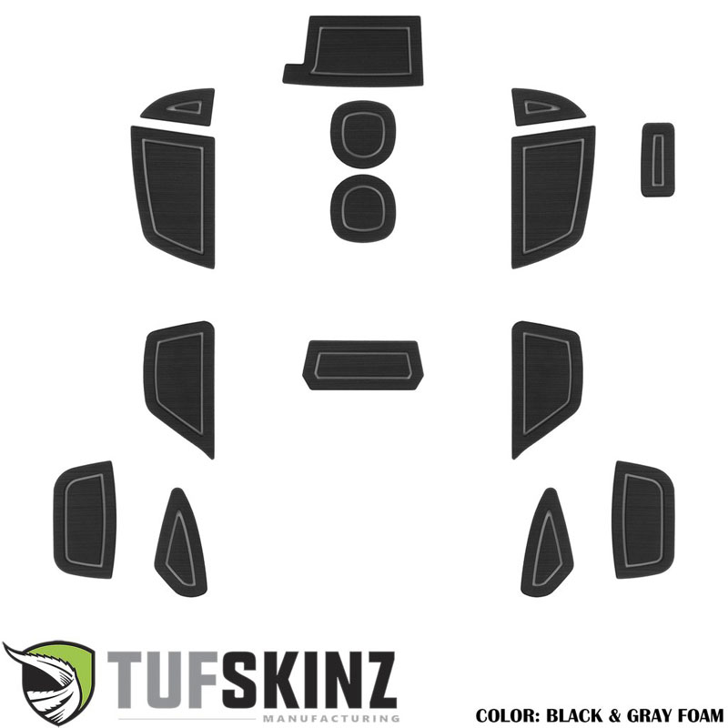Tufskinz FOC018-FGY-X Interior Cup Holder Inserts Fits 16-Up Ford Focus RS 15 Piece Kit Black/Gray