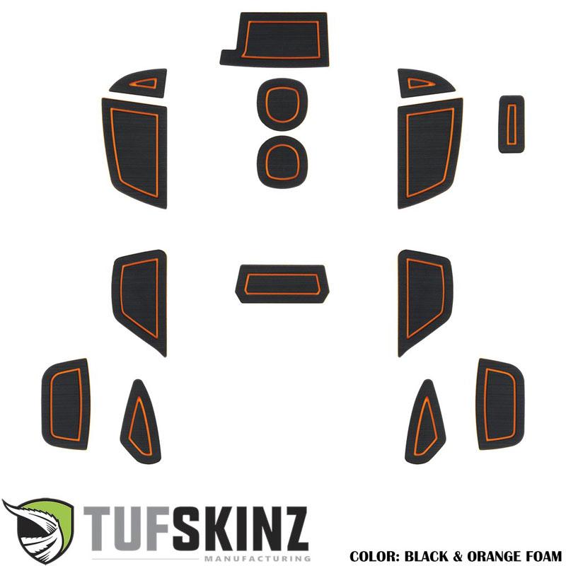 Tufskinz FOC018-FOG-X Interior Cup Holder Inserts Fits 16-Up Ford Focus RS 15 Piece Kit Black/Orange