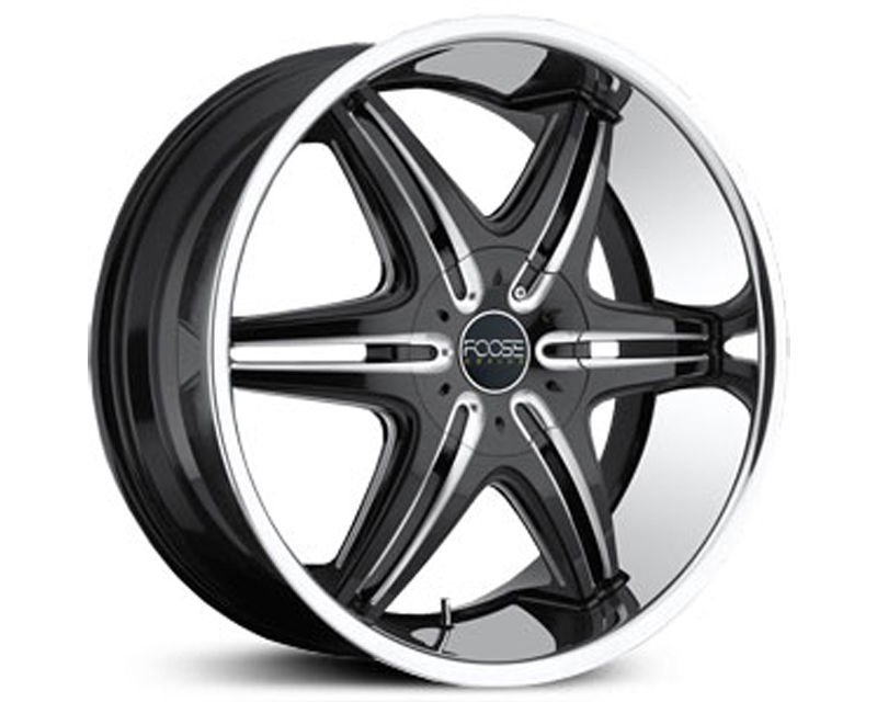 FOOSE Pinnacle F142 Black with Machined Spokes & Stainless Lip Wheel 20x8.5 6x127 | 6x127.5 +30mm - F142208599+30