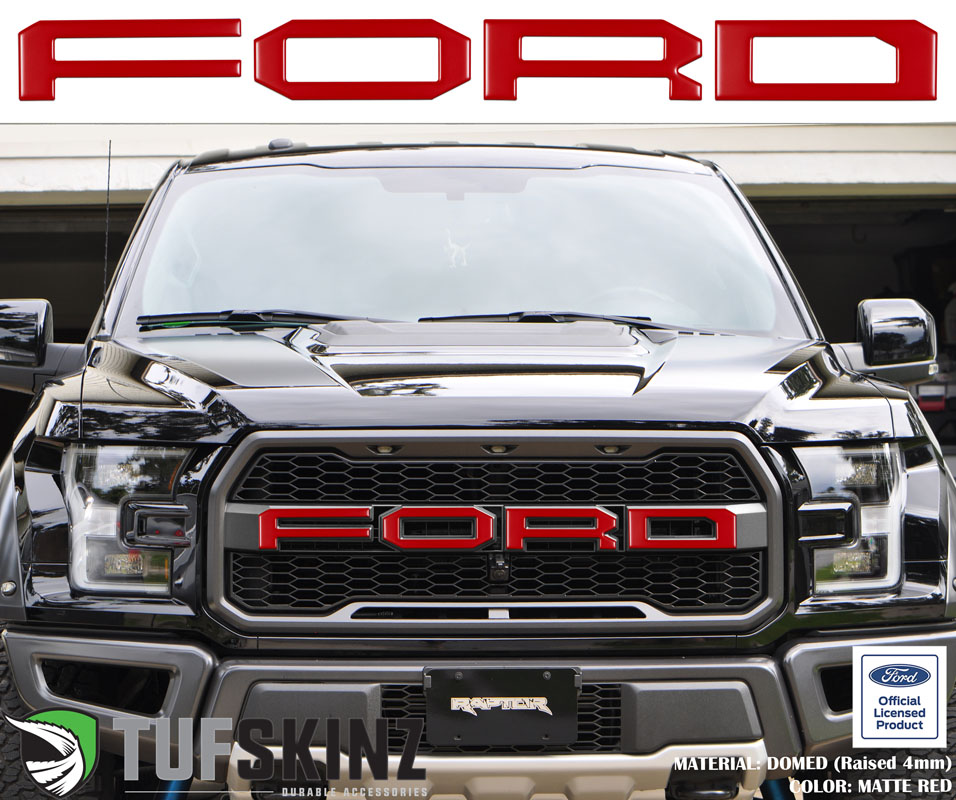 Tufskinz FRD007-RED-M Front Grill Overlays Fits 15-Up Ford Raptor 4 Piece Kit in Matte Red