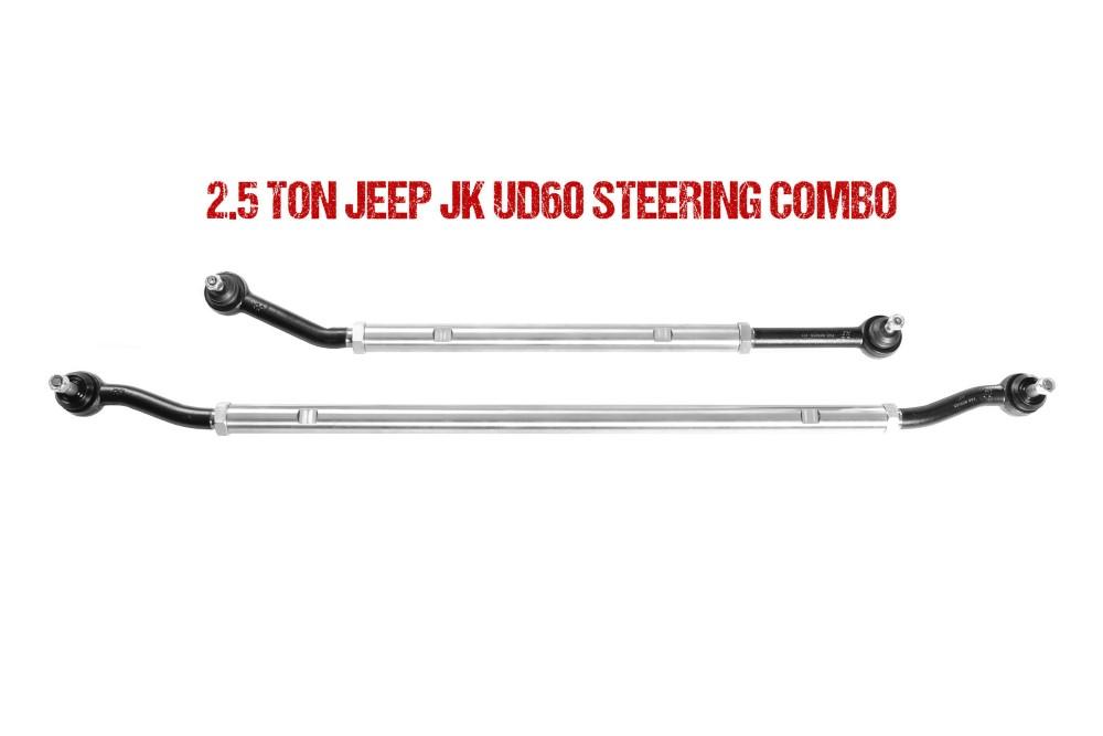 Jeep JL Ultimate Dana 60 2.5 Ton Tie Rod and Drag Link Combo 18-Pres Wrangler JL Fusion 4x4 - FUS-UD60JL-DTC
