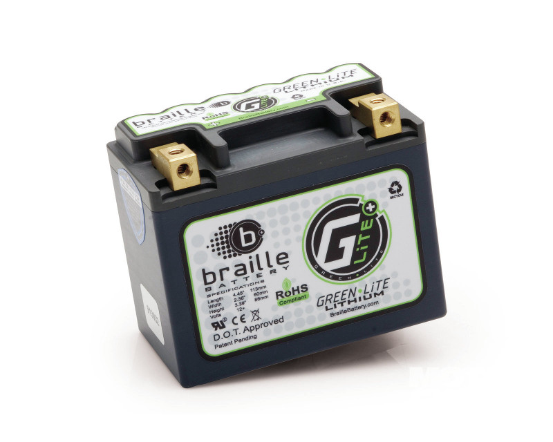 Image of Braille Green Lite Lithium Ion Battery Left Side Positive 197 AMP 4.45 x 2.36 x 3.39 Inch