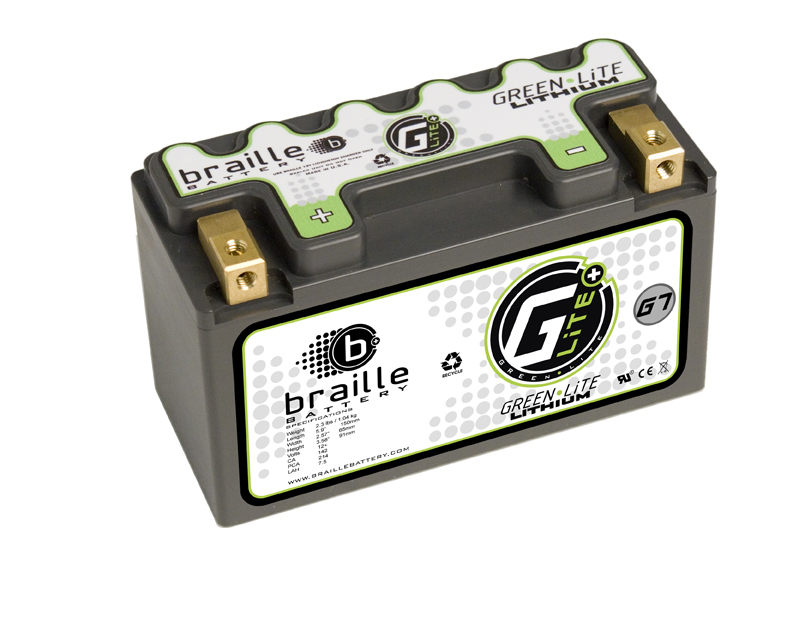 Image of Braille Green Lite Lithium Ion Battery Left Side Positive 214 AMP 5.9 x 2.57 x 3.58 Inch