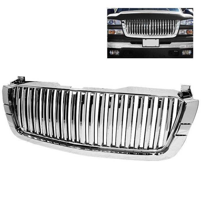 Spyder Center Only Fitment With 1 Piece HeadLights Chrome Front Grille Chevrolet Silverado 03-06 - GRI-SP-CS03-CT-C