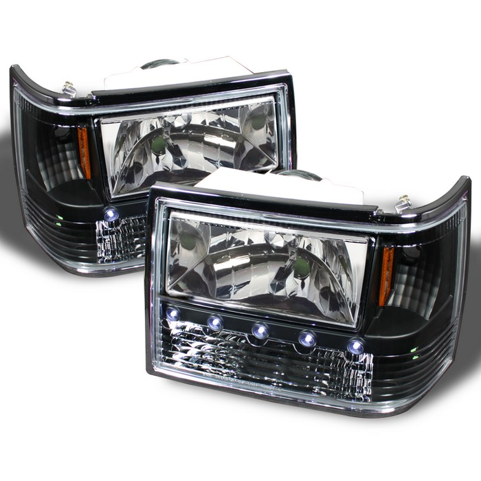 Spyder 1 Piece Black Crystal Headlights Jeep Grand Cherokee 93 98 Hd On