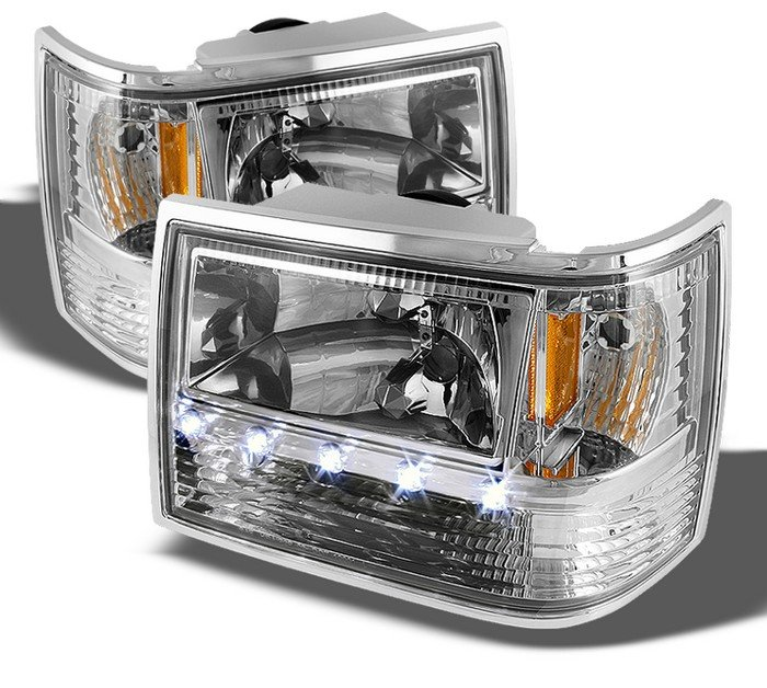 Spyder 1 Piece Chrome Crystal Headlights Jeep Grand Cherokee 93 98 Hd On