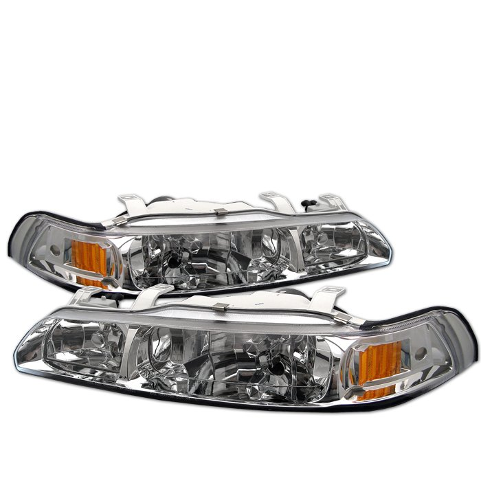 Spyder 1Pc Crystal HeadLights Titanium Smoke Acura Integra 90-93