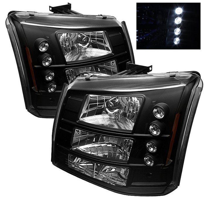 Spyder 1 Piece W Bumper Lights LED Black Crystal HeadLights Chevrolet Silverado 1500 2500 3500 03-06 - HD-YD-CS03-1PC-AM-BK