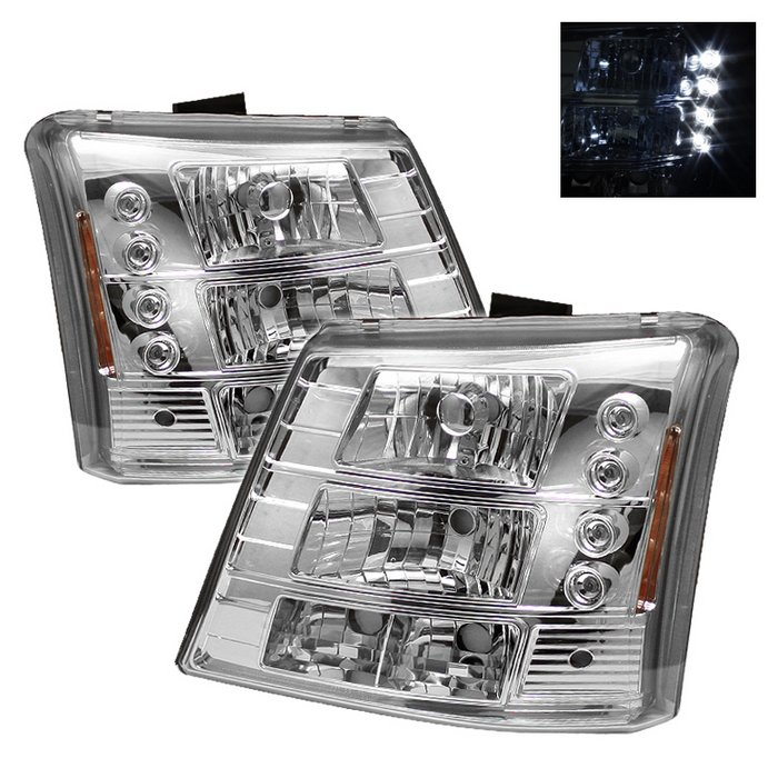 Spyder 1 Piece W Per Lights Led Chrome Crystal Headlights Chevrolet Silverado 1500 2500 3500 03