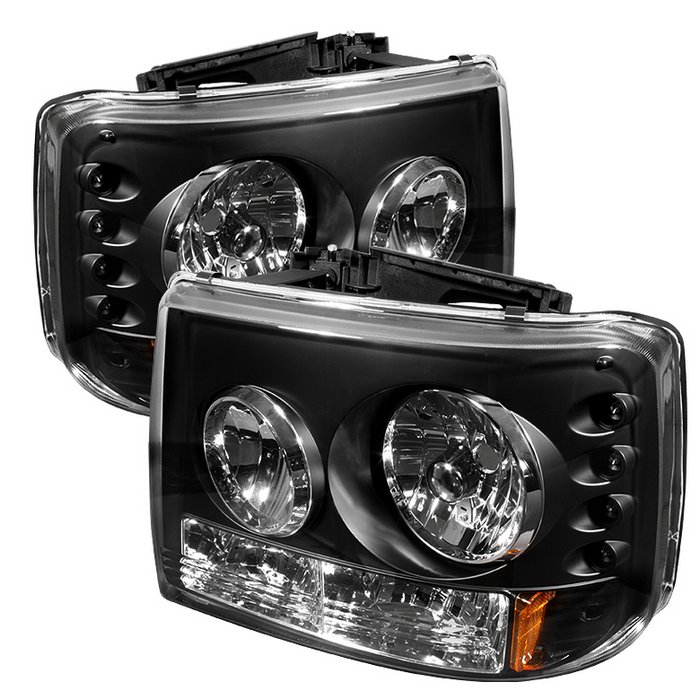 Spyder 1 Piece w Bumper Lights Black Crystal Headlights Chevrolet Tahoe Suburban 1500/2500 00-06