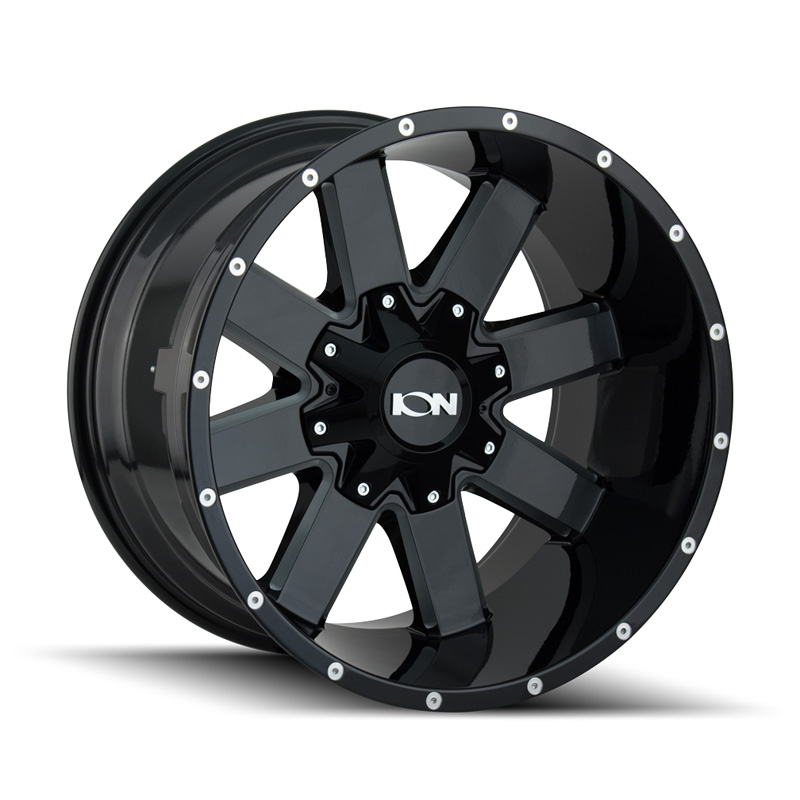 ION 141 Gloss Black | Milled Spokes 20x12 8x180 -44mm 124.1mm Wheel - 141-2278M