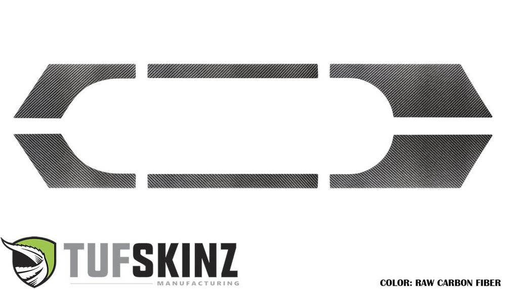 Tufskinz JEC026-RCFMP-X Rocker Panel Trim Fits 07-18 Jeep Wrangler JK 2 Door 6 Piece Kit Raw Carbon Fiber