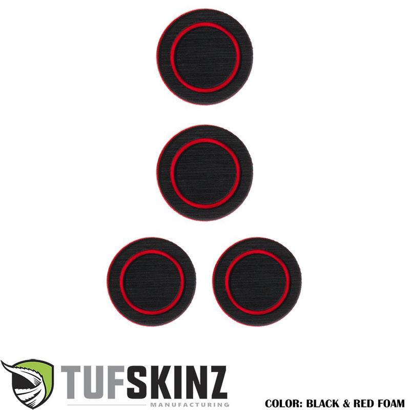 Tufskinz JEP005-FRD-X Interior Cup Holder Inserts Fits 07-18 Wrangler JK 4 Piece Kit Black/Red