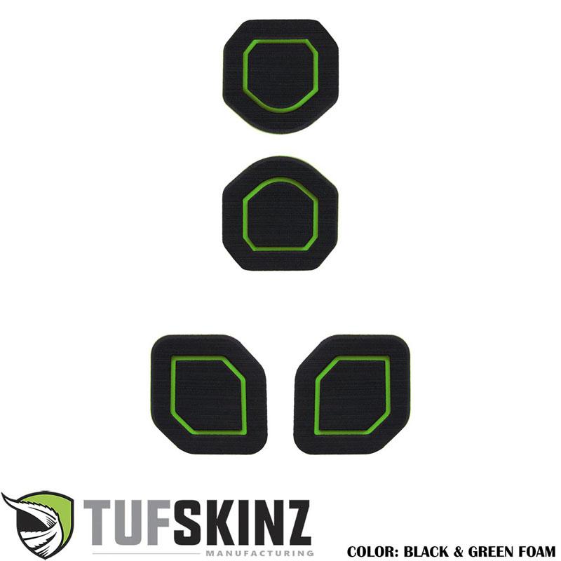 Tufskinz JEP006-FGN-X Interior Cup Holder Inserts Fits 19-Up Wrangler JL 4 Piece Kit Black/Green