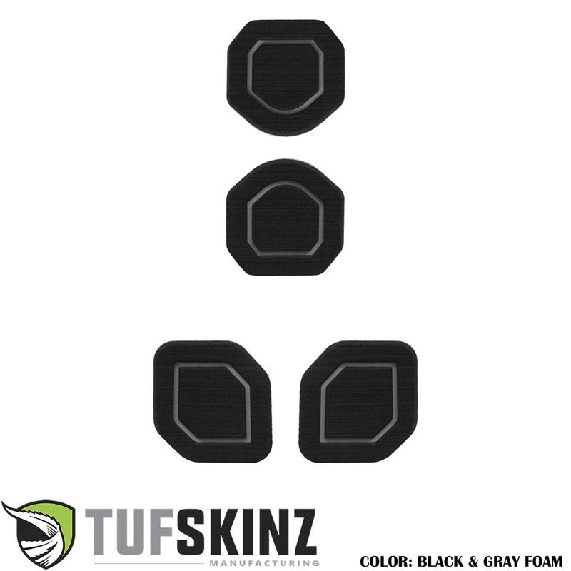 Tufskinz JEP006-FGY-X Interior Cup Holder Inserts Fits 19-Up Wrangler JL 4 Piece Kit Black/Gray