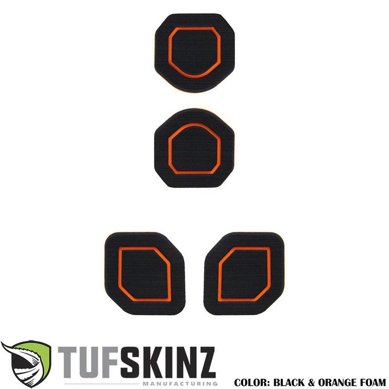Tufskinz JEP006-FOG-X Interior Cup Holder Inserts Fits 19-Up Wrangler JL 4 Piece Kit Black/Orange
