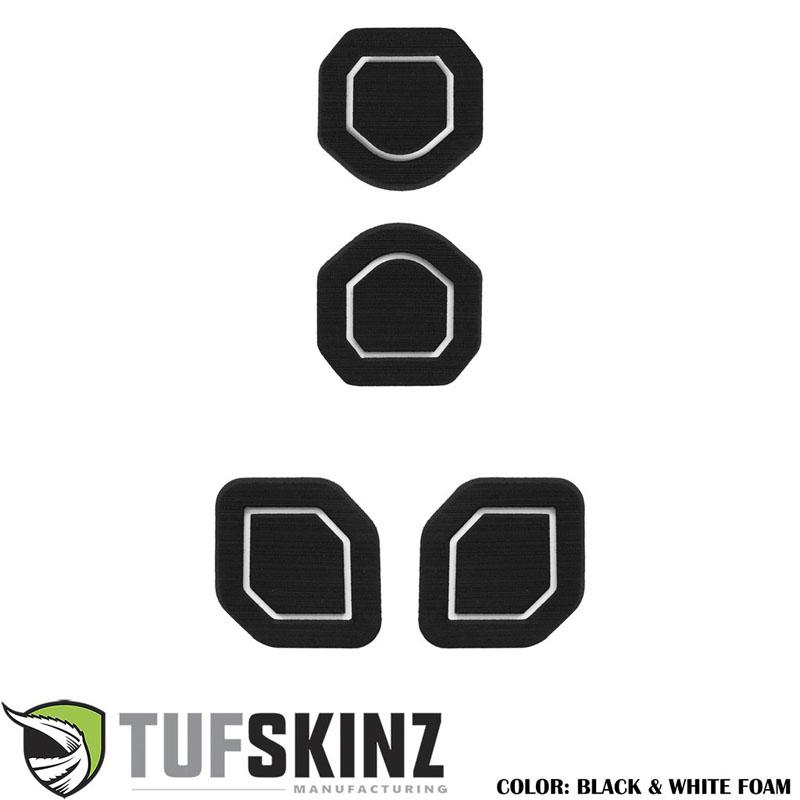 Tufskinz JEP006-FWE-X Interior Cup Holder Inserts Fits 19-Up Wrangler JL 4 Piece Kit Black/White