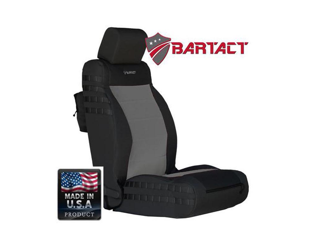 Bartact Black/Graphite Tactical Series SRS Air Bag Compliant Front Seat Covers Jeep Wrangler JK | JKU 2011-2012 - JKAC1112FPBG