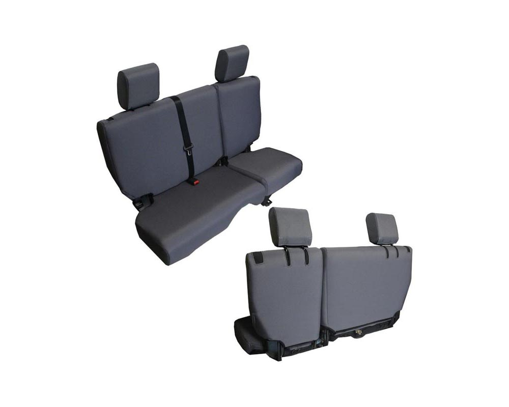 Bartact Graphite Baseline Performance Rear Split Bench Seat Covers Jeep Wrangler JKU 4 DR 2008-2010 - JKBC0810R4G