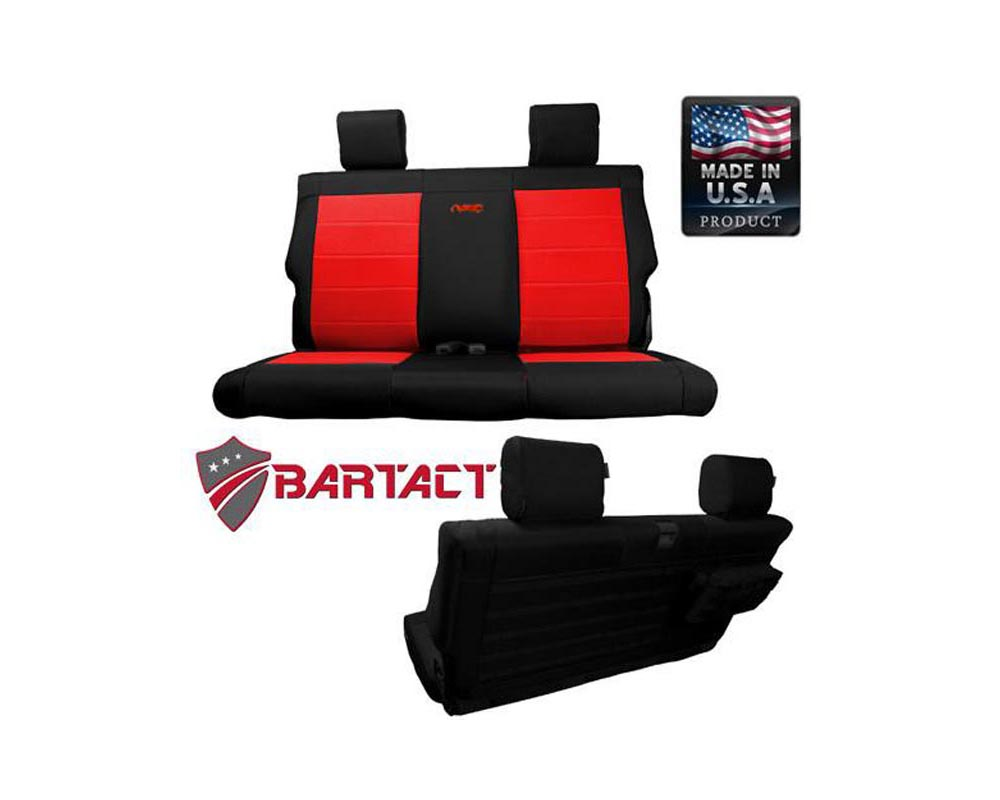 Bartact Black/Red Tactical Series Rear Bench Seat Covers Jeep Wrangler JK 2 DR 2007-2010 - JKSC0710R2BR