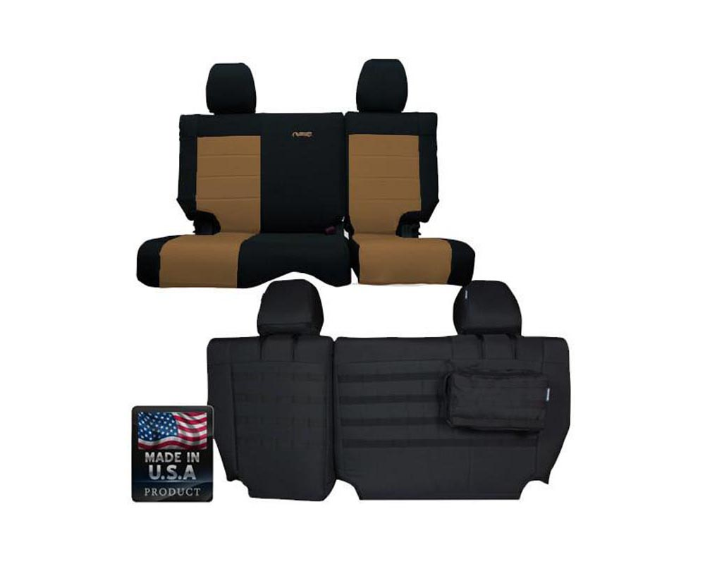 Bartact Black/Coyote Tactical Series Rear Split Bench Seat Covers Jeep Wrangler JK 4 DR 2013-2017 - JKSC2013R4BC