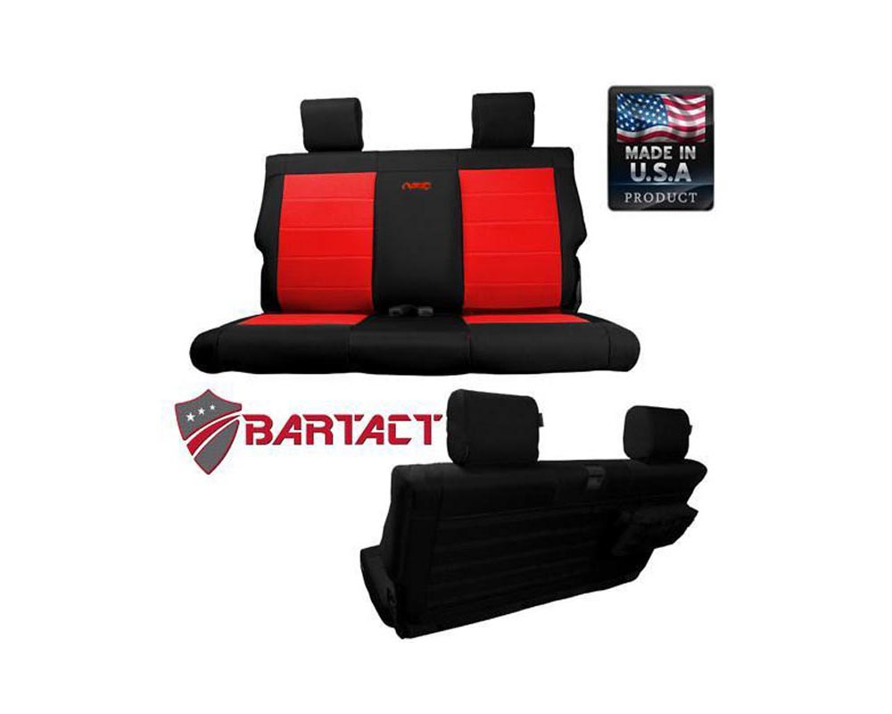 Bartact Black/Red Tactical Rear Bench Seat Covers Jeep Wrangler JL 2 DR 2018-2021 - JLSC2018R2BR