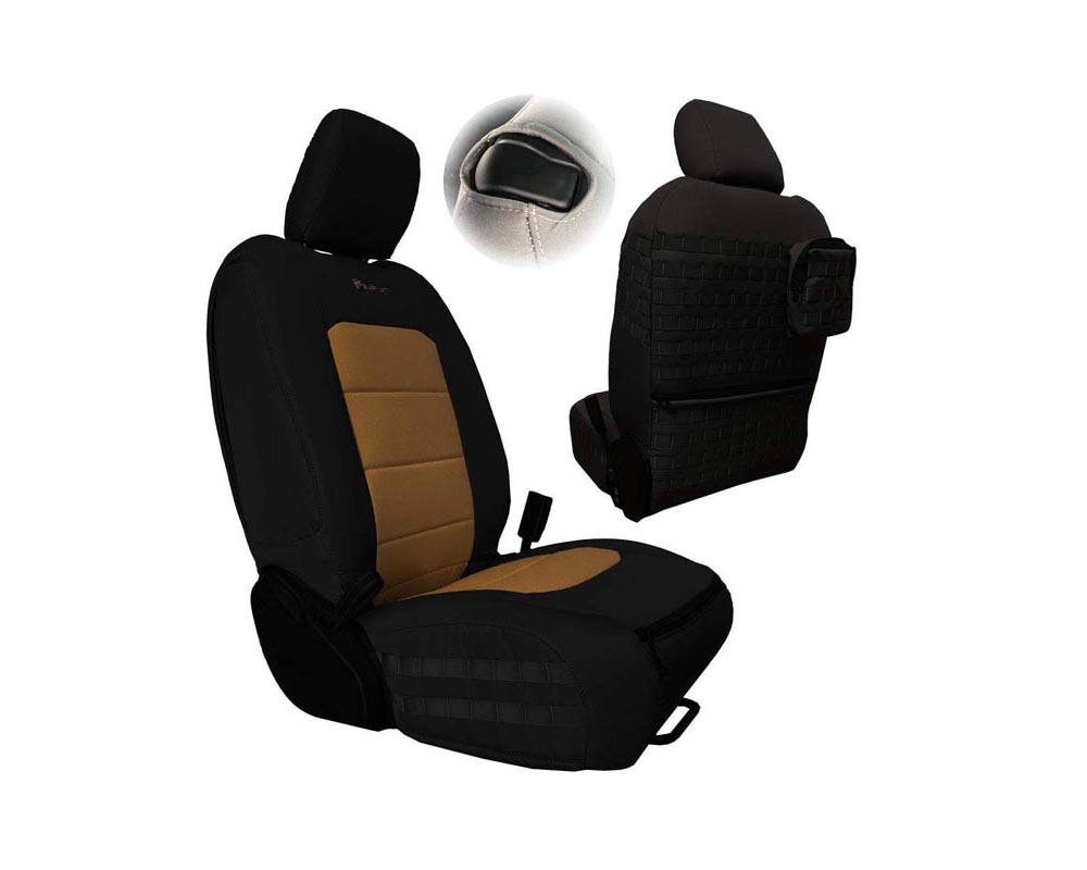 Bartact Black/Coyote Tactical Front Seat Covers Jeep Wrangler JL 2 DR 2018-2021 - JLTC2018F2BC