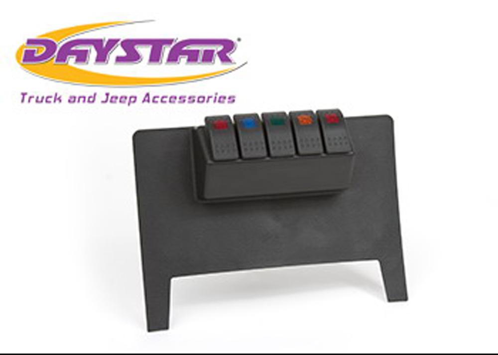 11-17 Jeep Wrangler JK Lower Switch Panel W/ 4 Rocker Switches Black Daystar - KJ71038BK