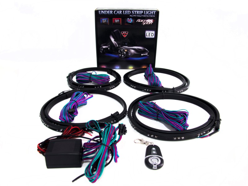 Race Sport Lighting RGB Multi-Color Flexible LED Underbody Complete Kit with Remote Control Key Fab - LEDUNDERKIT