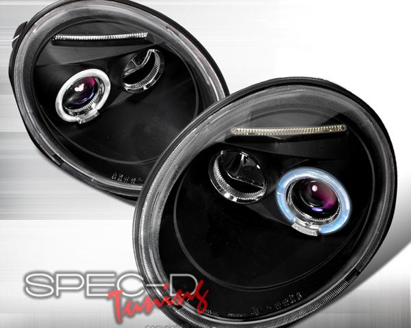 SpecD Black Halo Projector Headlights Volkswagen Beetle 98-05 - LHP-BEE98JM-TM