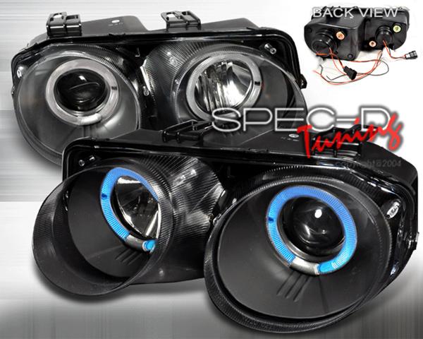 SpecD Black Single Projector Headlights Acura Integra 94-97 - LHP-INT98JM-WJ