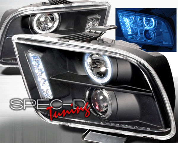 SpecD Black LED Halo Projector Headlights Ford Mustang 05-09 - LHP-MST05JM-TM