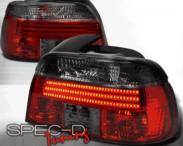 SpecD Red/Smoked LED Tail Lights BMW 5-Series E39 96-00 - LT-E394RG-F2-APC