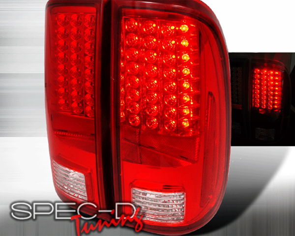 SpecD Red/Clear LED Tail Lights Ford F-250 08-09 - LT-F25008RLED-KS
