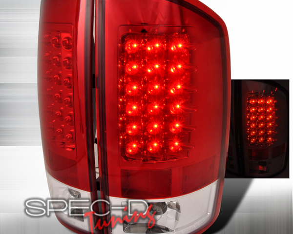 SpecD Red/Clear LED Tail Lights Dodge Ram 02-06 - LT-RAM02RLED-TM