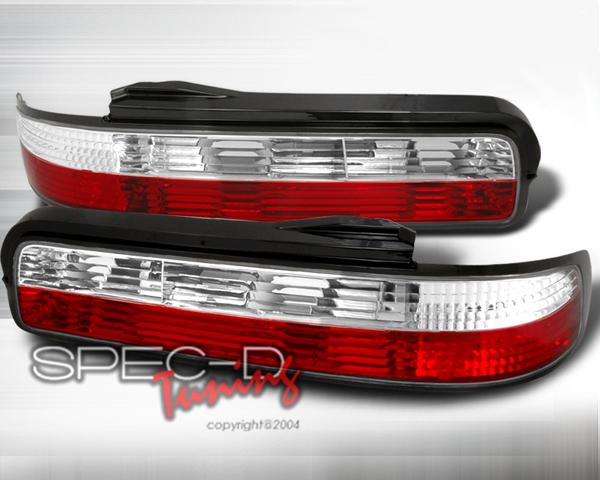 SpecD Red/Clear Tail Lights Nissan 240SX S13 89-94 2D - LT-S13892RPW-TM
