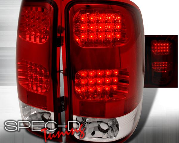 SpecD Red/Clear LED Tail Lights GMC Sierra 07-09 - LT-SIE07RLED-TM