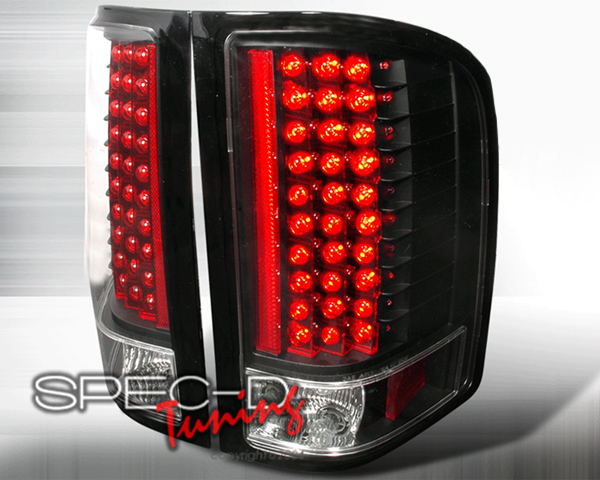 SpecD V2 Black Housing LED Tail Lights Chevrolet Silverado 07-08 - LT-SIV07JMLED-KS