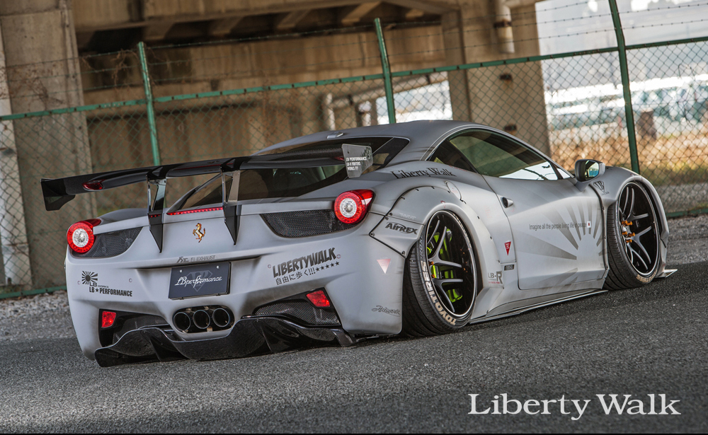 liberty walk rear wing version 1 dry carbon ferrari 458 italia 10 15. Black Bedroom Furniture Sets. Home Design Ideas