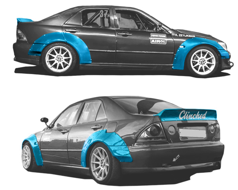Clinched Flares Widebody Kit with Ducktail Spoiler Lexus IS300 01-05 - LXS-IS300
